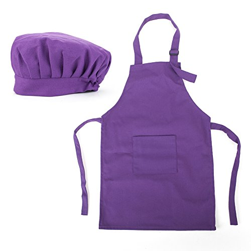 Opromo Colorful Cotton Canvas Kids Aprons and Hat Set, Party Favors(S-XXL)-Purple-S ()