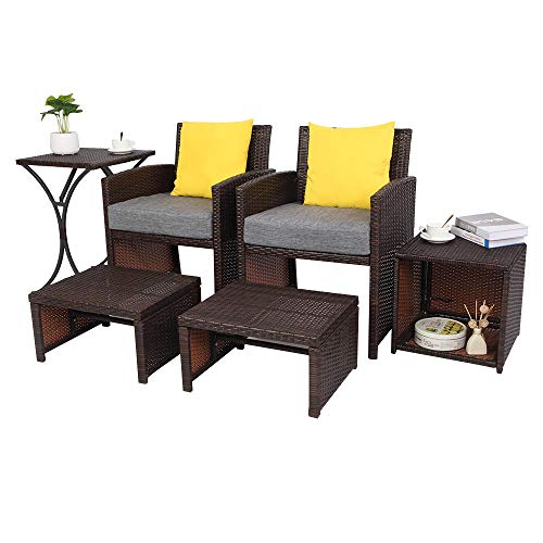 VINGLI 6PCS Wicker Patio Conversation Set with Cushions Outdoor Patio Furniture Set 2 Single Chairs 2 Ottoman 2 Storage Side Table, Space Saving Design