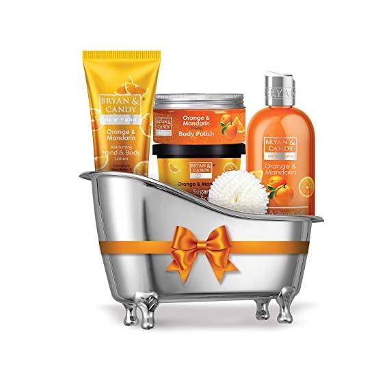 Bryan & Candy New York Orange & Mandarin Bath Tub Kit for Complete Home Spa Experience (Shower Gel, Hand & Body Lotion, Sugar Scrub, Body Polish)