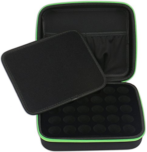 30 Essential Oils Custom Carrying Case for 5ml 10ml and 15ml Bottles from doTerra, Young Living and endless others - The Perfect Hard Shell Exterior Storage Organizer for your Collection (Basil Green)