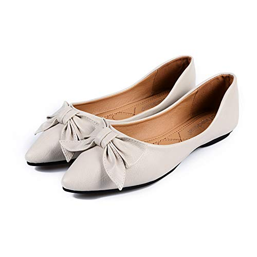 work non shoes comfortable Spring creamy soft shoes FLYRCX slip mouth bow shallow single foldable autumn white pointed shoes and flat bottom ZwwO8qB
