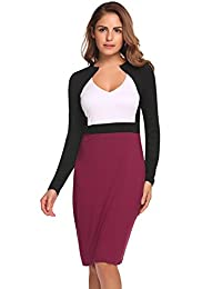 Meaneor Women's Vintage Retro 1950s V-Neck Slim Sexy Bodycon Cocktail Pencil Dress