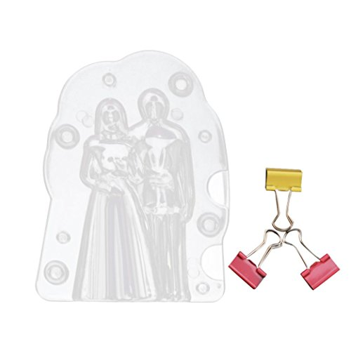 Dolloress 13.3x10cm Plastic Chocolate Mold 3D Wedding Couple Patterns Candy Cake Molds Decorating ()