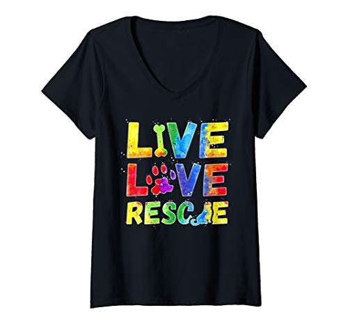 Womens Live Love Rescue with a Paw TShirt Dog Lovers Shirt Gift V-Neck T-Shirt