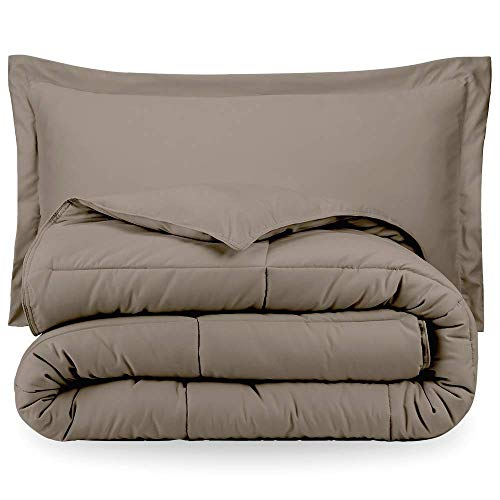 Bare Home Comforter Set - Twin/Twin Extra Long - Goose Down Alternative - Ultra-Soft - Premium 1800 Series - Hypoallergenic - All Season Breathable Warmth (Twin/Twin XL, Taupe)