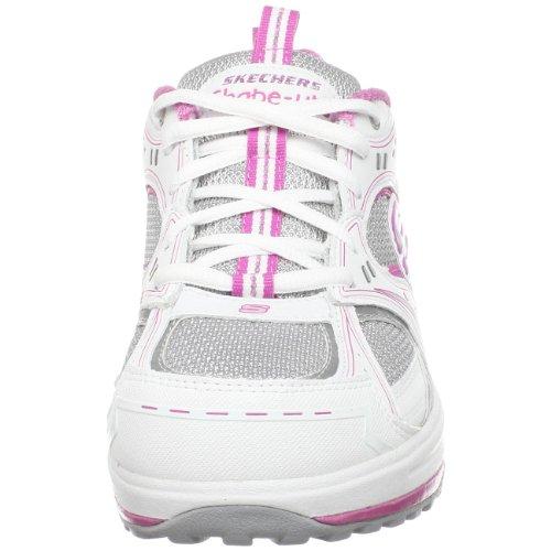 Skechers Womens Shapeup Sensibilisation Au Cancer Du Sein Chaussure De Marche Blanc / Argent / Rose