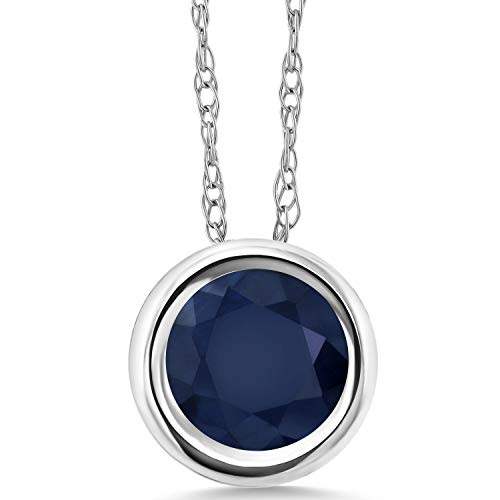 - Gem Stone King 1.10 Ct Round Blue Sapphire 14K White Gold Pendant With Chain
