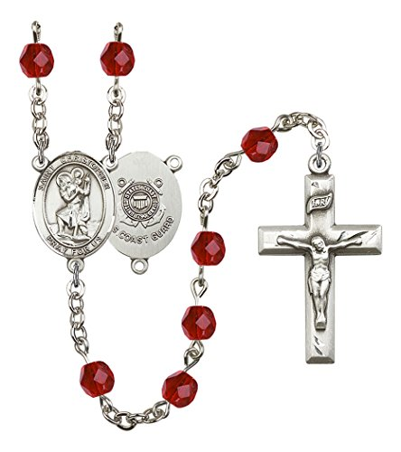 July Birth Month Prayer Bead Rosary with Saint Christopher Coast Guard Centerpiece, 19 Inch (Coast Christopher Guard)