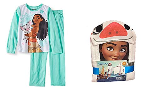 Disney Moana Toddler Girls Pajama Set Size 7/8 Plus Hooded ()