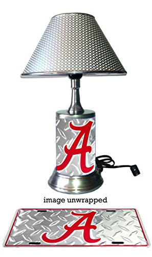 - Alabama Crimson Tide Lamp with chrome shade, base wrapped with diamond metal plate