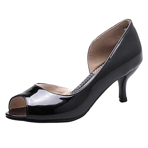 Women Coolcept Shoes Peep Court Toe Black xzwS7qzF