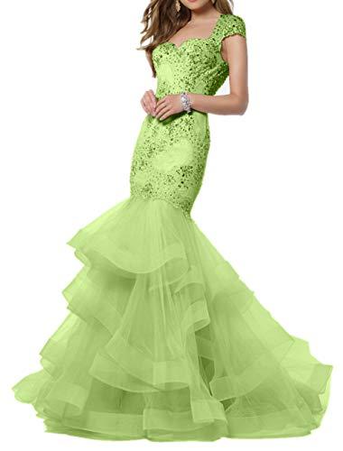 mia Braut Spitze Lemon Gruen Partykleider Meerjungfrau La Traeger Abendkleider Formalkleider Figurbetont Breit Abschlussballkleider 15Fdxq