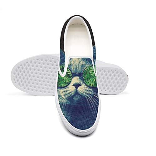 Canvas Mens Sneakers Shoes Marijuana Leaf Weed Cannabis cat Slipon for Men Pretty Anti-Skid Canvas Sneakers ()