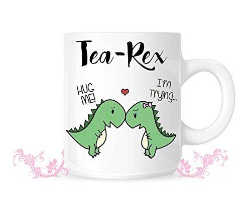 Mega Aluminum Bottle (Tea Rex Mug - Dinosaur love - T-rex mug - T Rex Love Mug - Valentine's Mug - 11oz 15oz)