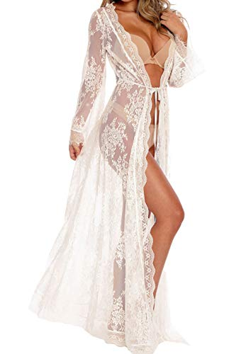Women Sexy Long Lace Dress Sheer Gown See Through Lingerie Kimono Robe (White, One Size) (Lounge Spelling)