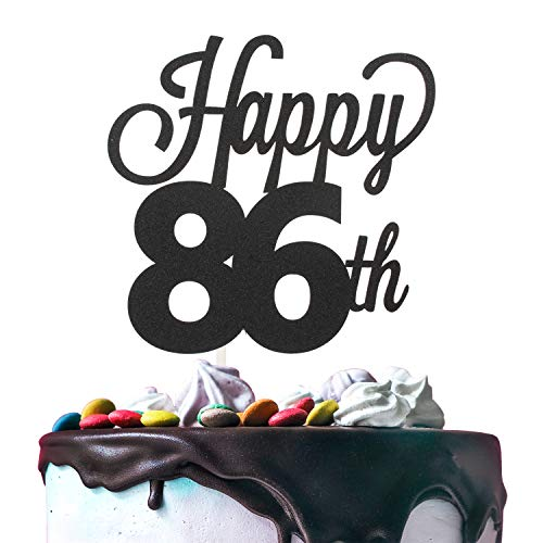 86th Happy Birthday Cake Topper Premium Double Sided Black Glitter Cardstock Paper Party Decoration - 6'' x 8'' Eighty-sixth Bday Topper. ()