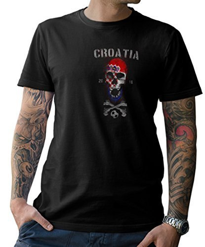 NG articlezz Camiseta de los Hombres Croacia Calavera Copa del Mundo de Fútbol 2018 Croacia s-5xl O3UBu