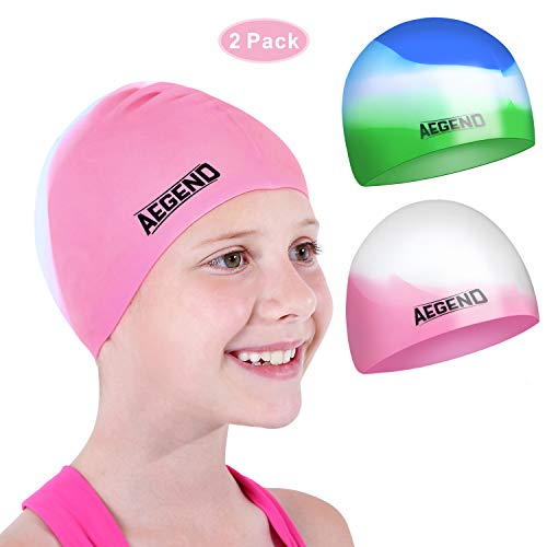 aegend Kids Swim Cap (Age 2-4), 2 Pack, Pink & Green