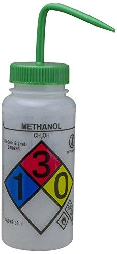 Bel-Art GHS Labeled Safety-Vented Methanol Wash Bottles; 500ml (16oz), Polyethylene w/Green Polypropylene Cap (Pack of 4) (F12416-0011) ()