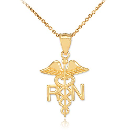 American Heroes Polished 10k Yellow Gold Caduceus RN Charm Registered Nurse Pendant Necklace, 16