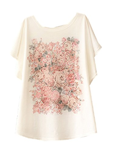 Tops Women YICHUN Shirt T Casual Girls Sleeve Tees Wear 1 Beige Thin Printed Batwing Summer rSIqdI