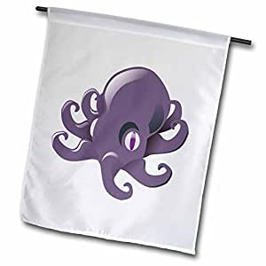 fl_48235_1 Florene Childrens Art II - Purple Cartoon Octupus - Flags - 12 x 18 inch Garden Flag