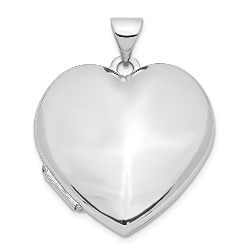 Jewelry Pendants & Charms Lockets 14k White Gold Polished Heart-Shaped Domed Locket