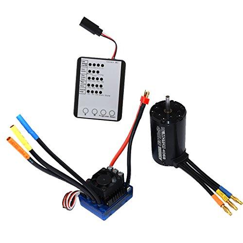 Dovewill 4068 2050KV Brushless Sensorless Motor ESC with Bulb LED System for 1/8 RC Car Crawler Accs (Crawler Brushless System)