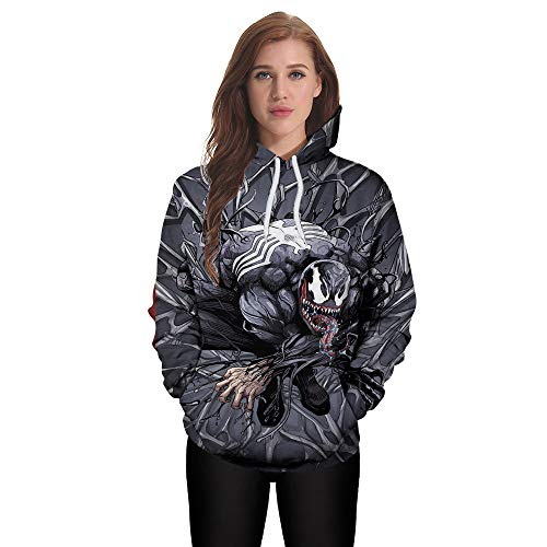 Price comparison product image MOONHOUSE Women Lover's Halloween Scary Pullover Coat 3D Printed Hoodie Long Sleeve Party Sweatshirt Tops Blouse (XXL,  Gray)