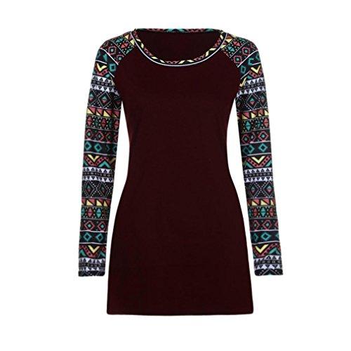 Vin Col Swing Tunique Femmes rond Manches Robe shirt Toamen Longues imprim t Dcontracte Gomtrique Rouge OqSY1F