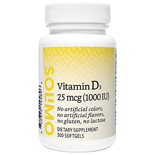 Amazon Brand - Solimo Vitamin D3 25 mcg (1000 IU), 300 Softgels, Ten Month Supply