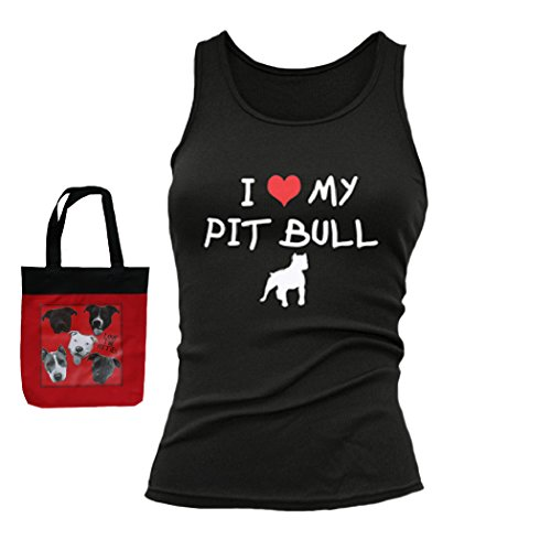 I Heart My Pit Bull Womens Fitted Tank & Tote Multi-pack Gift Pitbull Shirt (Large, Black) ()