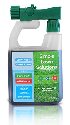 Superior Nitrogen & Potash 15-0-15 NPK- Lawn Food Natural Liquid Fertilizer - Concentrated Spray- Any Grass Type- Simple Lawn Solutions Green, Grow, Health & Strength- Phosphorus-Free (32 Ounce) (Best Lawn Fertilizer For Summer)