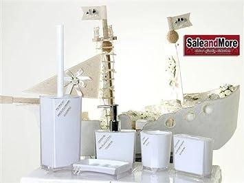 Badezimmer Set Bad Seifenspender Accessoire Set WC Set Mit Steine Weiß