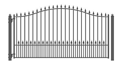 ALEKO DG12MUNSSW Munich Style Single Swing Galvanized Steel Driveway Security Gate 12 x 6 Feet Black