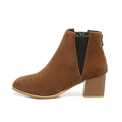 Boots MNS02675 Outdoor Womens Lining Warm Brown Suede Top Cuff Low Urethane Bootie Boots Ankle 1TO9 Nubuck 6BqwCBO