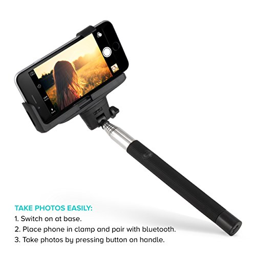 *XMAS SALE* Selfie Stick, Piccy [PREMIUM] - Wireless Extendable Monopod with Bluetooth Remote Shutter Button for Iphone 6, 6s, & 5, Samsung Galaxy S5, Android - Black