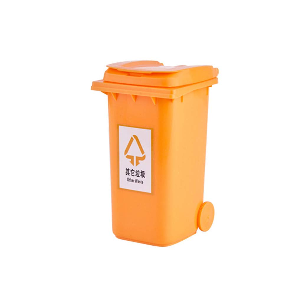 wuliLINL Mini Waste Can Plastic Trash Can Small Garbage Can with Swing Lid Mini Curbside Trash and Recycle Can Set Pencil Holder for Desk Office Desktop Organizer Waste Bins