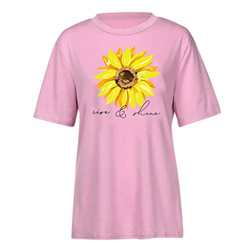 Pengy Sunflower Top Women Fashion Rise and Shine Graphic Tee Summer Letter Print Short Sleeve T-Shirt