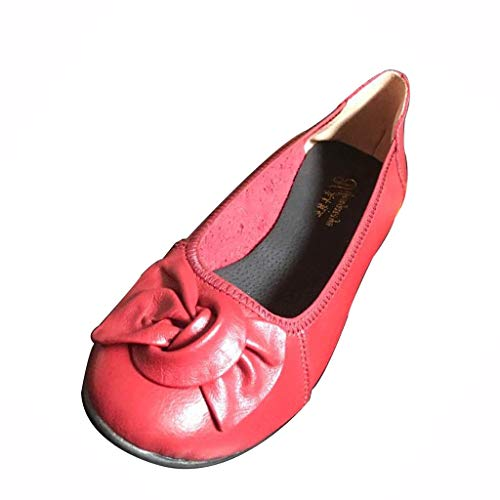 Benficial Women's Summer Shallow Mouth Bow Casual Mother Shoes Square Dance Single Shoes Red