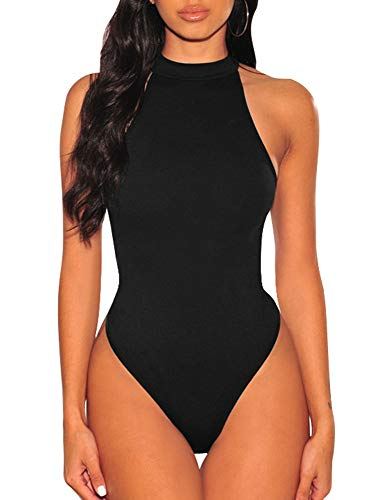 TOB Women's Sexy Sleeveless Bodysuit Tops High Waist Bodycon Scoop Neck Leotard Black