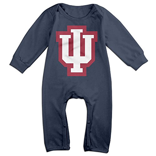 [PCY Newborn Babys Boy's & Girl's Indiana University Logo Long Sleeve Romper Bodysuit Outfits For 6-24 Months Navy Size 6] (Make Shoulder Pads Football Costume)