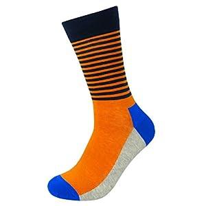 Mixsense 5 Pack Men's Casual Cotton Colorful Geometry Fashion Funky Design Pattern Comfortable Crew Socks (Mix8)