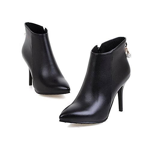 AgooLar Women's High-Heels PU Solid Zipper Pointed-Toe Boots Black FDrOUeLy
