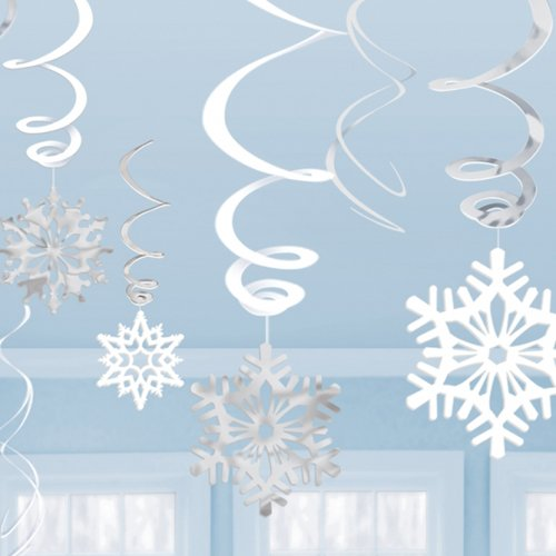 Amscan Winter Wonderland Christmas Party Hanging Snowflakes & Swirl Decorations Value Bundle, White/Silver (Winter Wonderland Party Theme)
