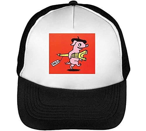 Hombre Negro Snapback Pig Beisbol Blanco Gorras 0ORqHn