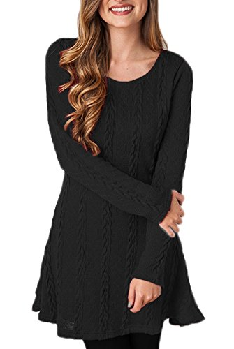Women's Solid Dress Line Weave A Knitting JadeRich Black Crewneck R4UdRq