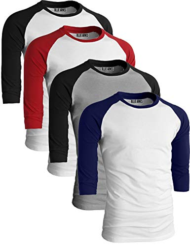 OLLIE ARNES Men's Basic Crewneck 3/4 Sleeve Cotton T-Shirt Raglan Baseball Top WHBLK_WHNAV_LTGRBLK_WHRED L