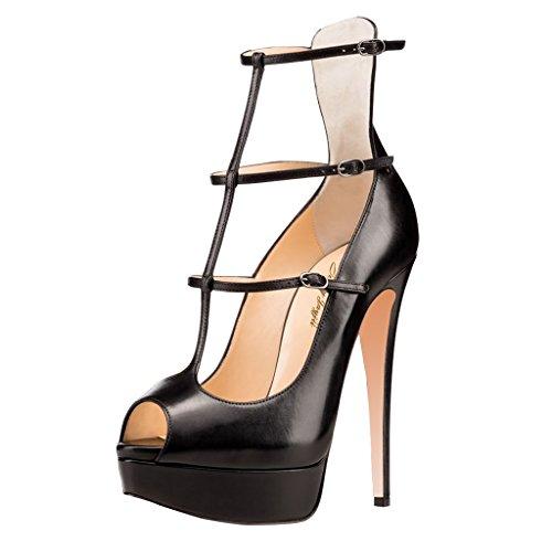 Nancy Sexy Leather Strappy Pumps Women for Shoes Toe Dress Jayjii Peep Platform Black 5rSvqx5