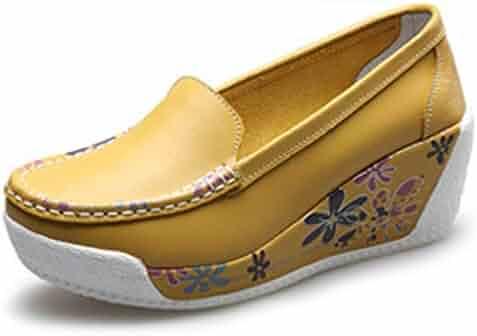 Gedigits Women Height Increasing Sneakers Casual Shoes Ladies Comfortable Platform Wedges Shoes Black 7.5 M US